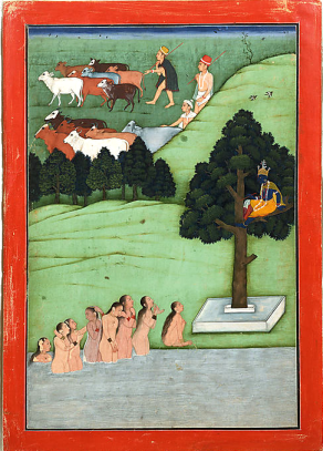 13_The gopis pleading with Krishna to return their clothes