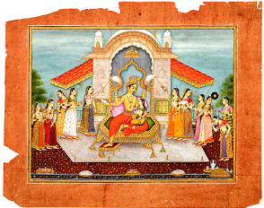 15_Vishnu with Lakshmi enthroned on a roof terrace