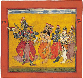 18_Bhadrakali,revered by the assembled gods,dances ecstatically