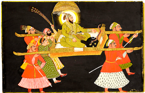 29_Emperor Farrukhsiyar beeing paraded in a Palanquin