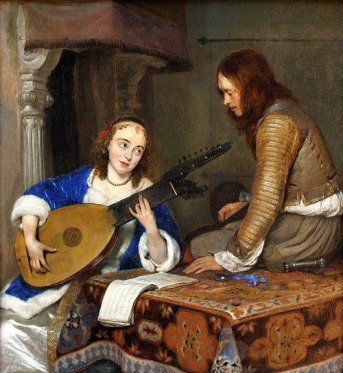 Gerard ter Borch - A Woman Playing Theorbo Lute And Cavalier 1654