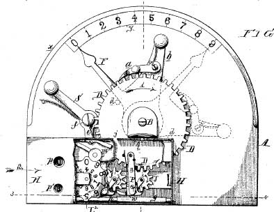 The Arithmometer of Frank Baldwin, patent drawing-up, and the machine (Monroe Calculator Company)