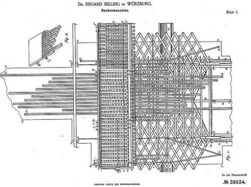 The patent drawing of Selling's multiplication machine