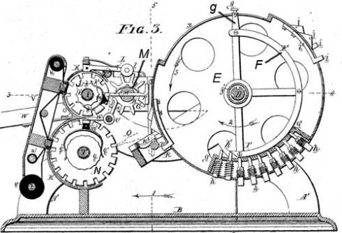 The pin-wheel machine of Frank Baldwin (patent drawing)