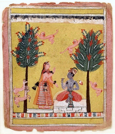 Folio from a Rasikapriya. Krishna as the romantic hero approached by Radha sakhi