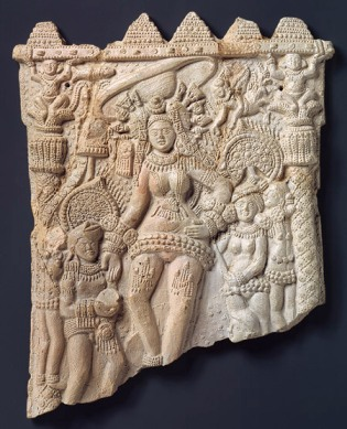 Plaque with the goddess Durga and attendants, Shunga period, 1st century B.C., Chandraketugarh, West Bengal, India, Terracotta (1990.281)