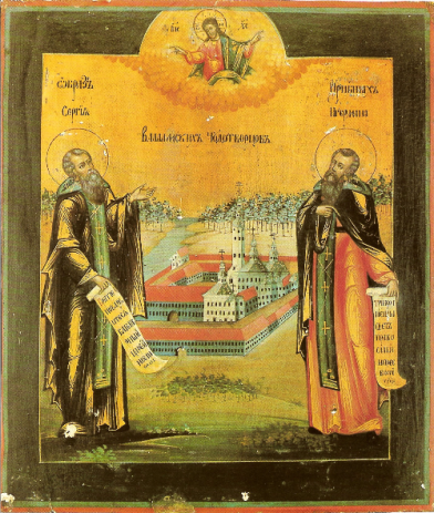 Sts. Sergius and Herman of Valaam_Icon_valaam_monastery_19th_century