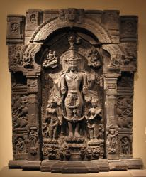Vishnu , Lakshmi and Sarasvati - 11th-12th Century Pala Period Black Stone Sculpture