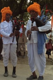 Mashak  players – bagpipers from  Thikarda village