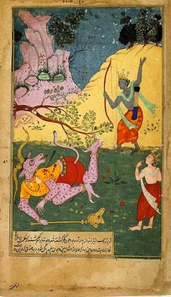 Rama strikes down Khara with an arrow_Rag_Kafi
